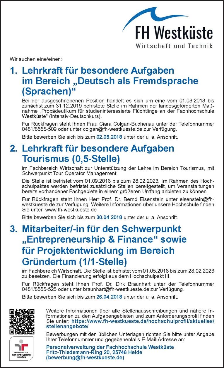 """Mitarbeiter/-in für den Schwerpunkt """"Entrepreneurship & Finance"""""""