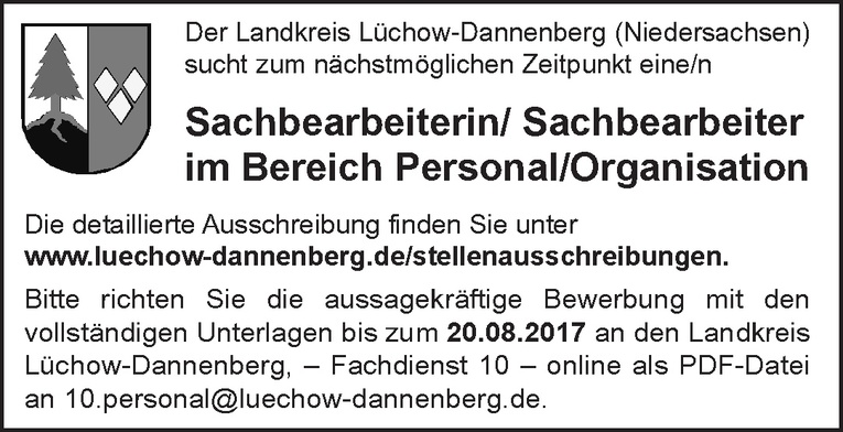 Sachbearbeiter (m/w) Personal/Organisation