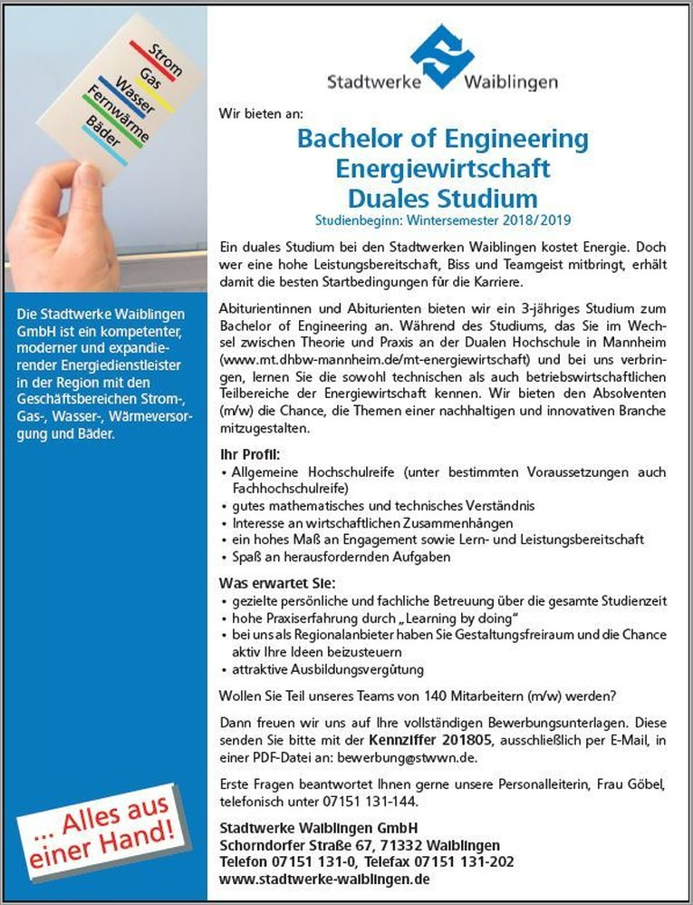 Duales Studium: Bachelor of Engineering - Energiewirtschaft (Wintersemester 2018/2019) - Kennziffer 201805