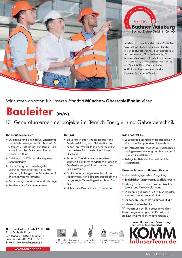 Bauleiter (m/w) von Generalunternehmerprojekte in München-Oberschleißheim