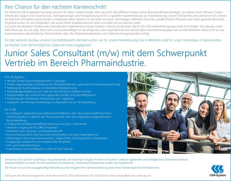 Junior Sales Consultant (m/w) mit dem Schwerpunkt Vertrieb im Bereich Pharmaindustrie