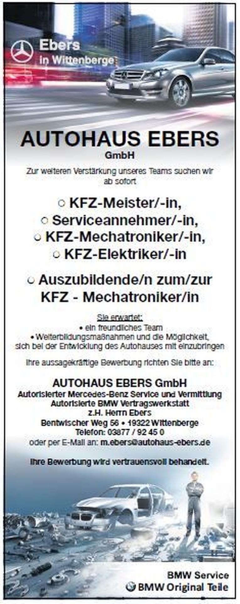 • KFZ-Meister/-in, • Serviceannehmer/-in, • KFZ-Mechatroniker/-in, • KFZ-Elektriker/-in • Auszubildende/n zum/zur KFZ - Mechatroniker/in