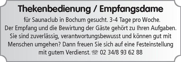 Thekenbedienung / Empfangsdame (m/w)