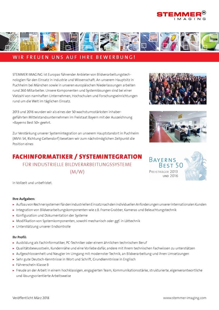 Fachinformatiker / Systemintegration für industrielle Bildverarbeitungssysteme  (m / w)