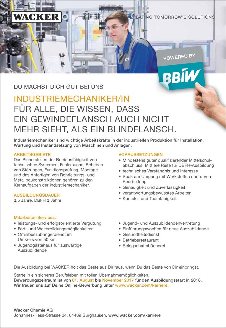 Ausbildung als Industriemechaniker/in
