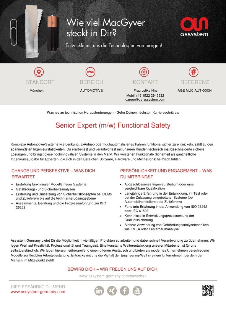 Senior Expert  (m/w) Functional Safety
