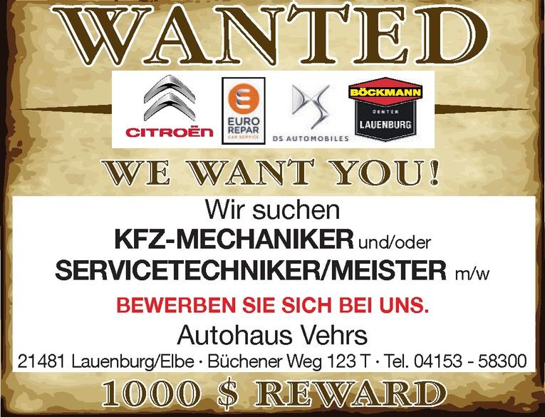 Kfz-Mechaniker und/oder Servicetechniker/Meister m/w