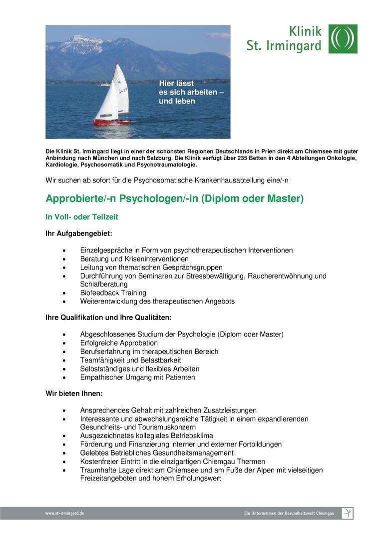 Approbierte/-n Psychologen/-in (Diplom oder Master)