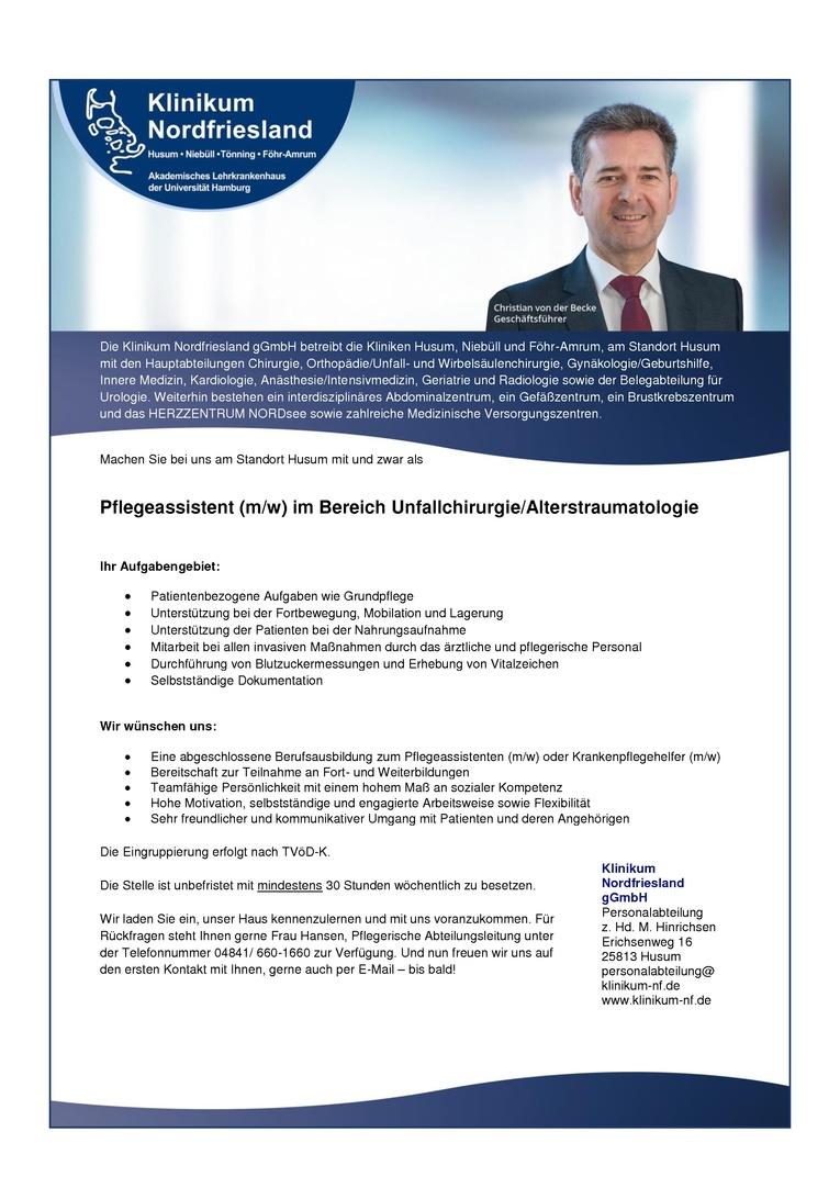 Pflegeassistent (m/w) für den Bereich Unfallchirurgie/Alterstraumatologie