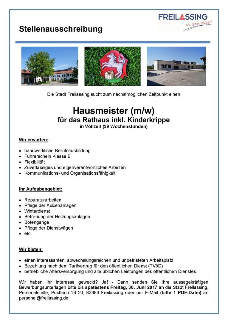 Hausmeister für Rathaus und Kinderkrippe gesucht