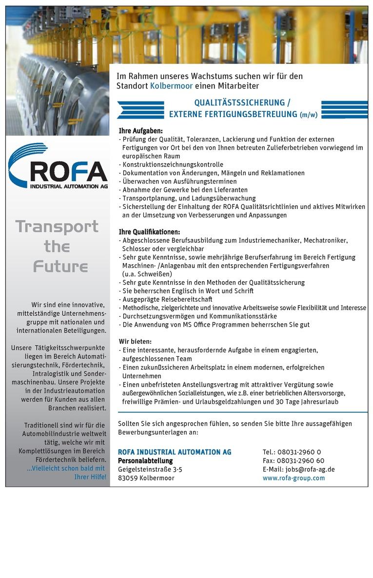 Qualitätssicherung / Externe Fertigungsbetreuung (m/w)
