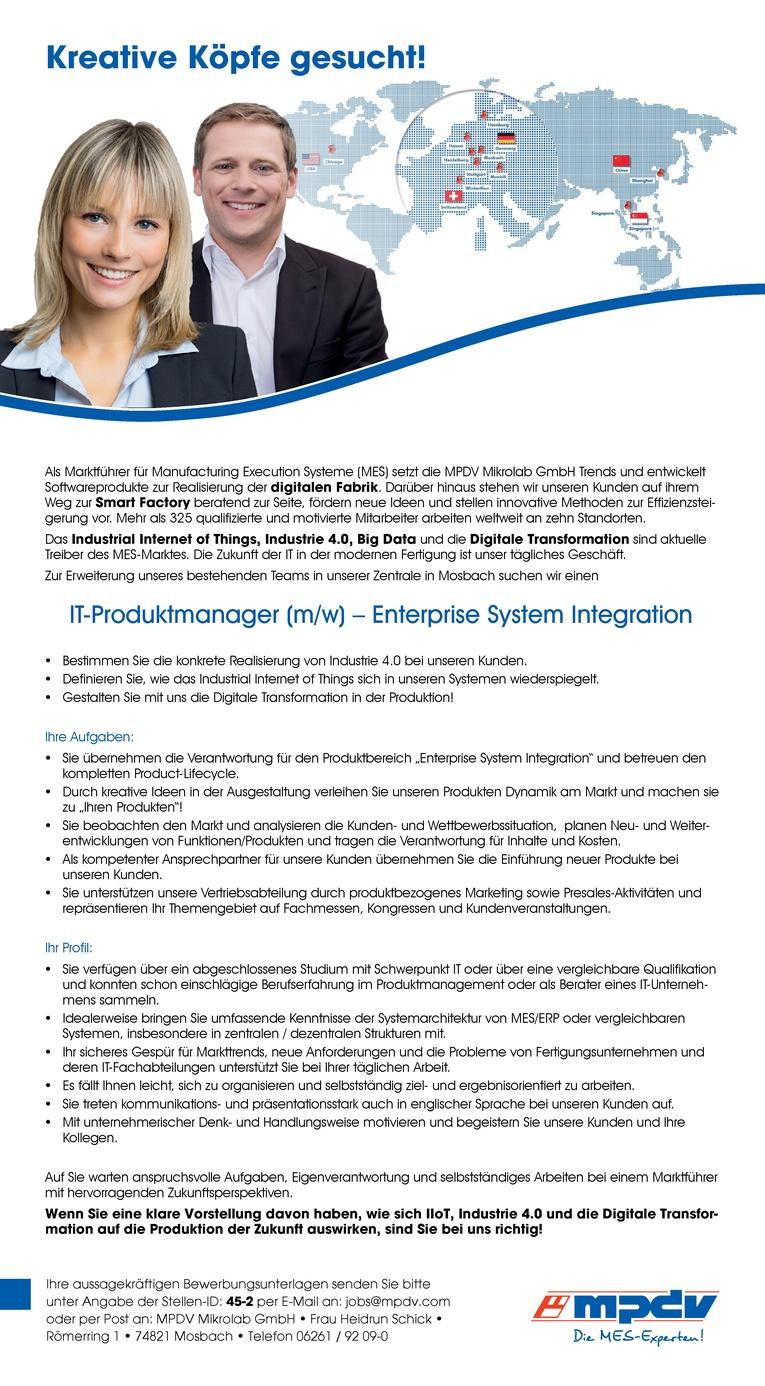 IT-Produktmanager (m/w) - Enterprise System Integration