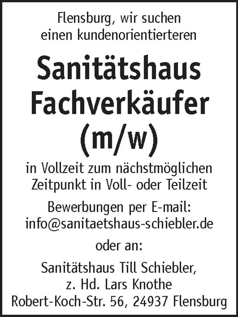 Sanitätshaus Fachverkäufer (m/w)