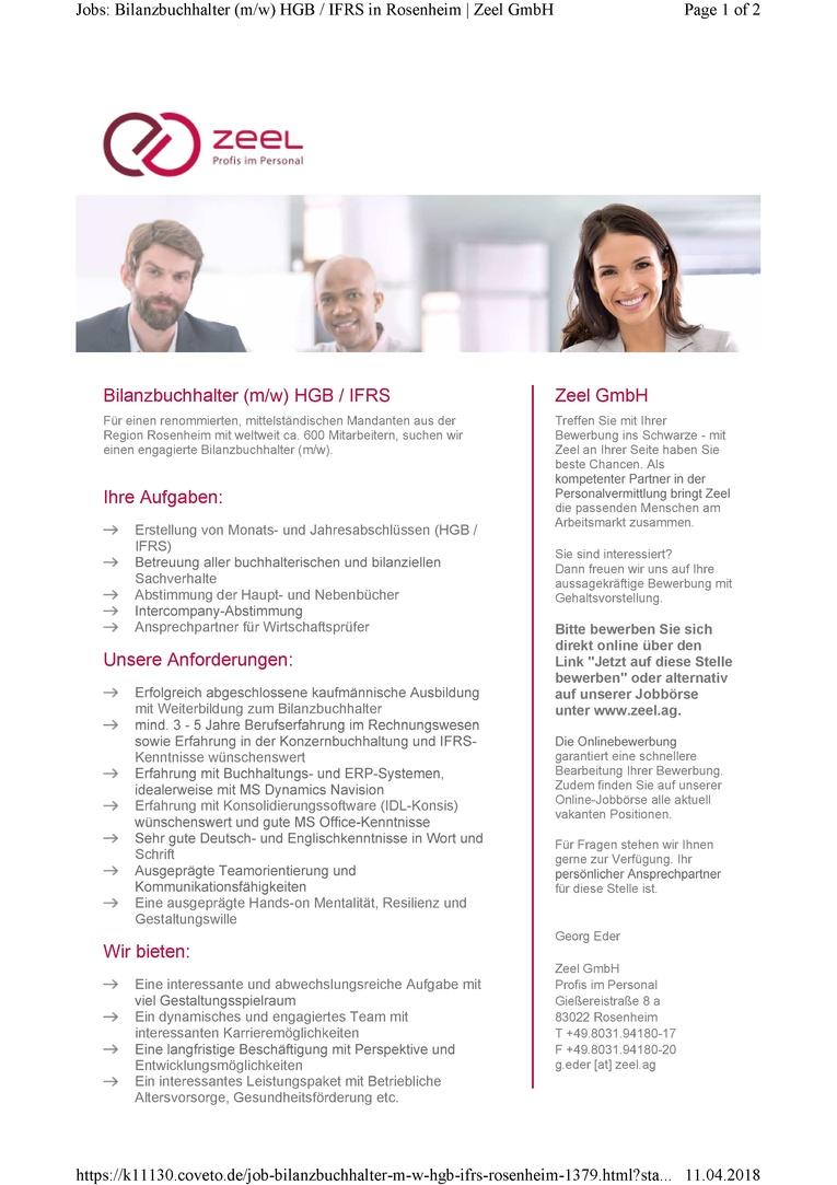 Bilanzbuchhalter (m/w) HGB / IFRS