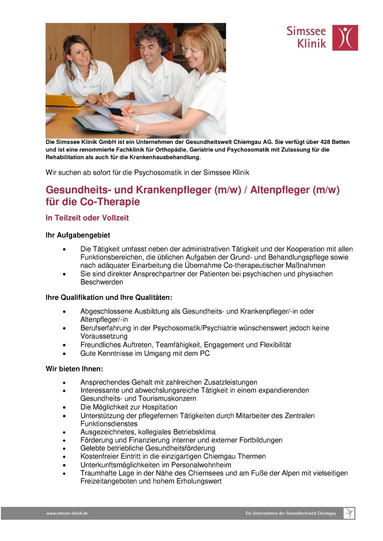 Gesundheits- und Krankenpfleger (m/w) / Altenpfleger (m/w) für die Co-Therapie