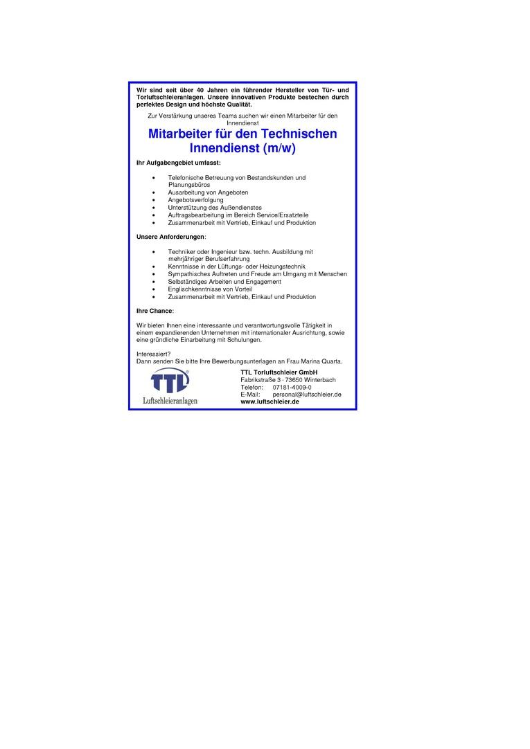 Mitarbeiter für den Technischen Innendienst (m/w)