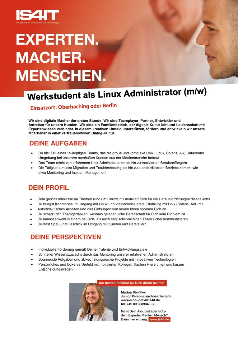 Werkstudent als Linux Administrator (m/w)