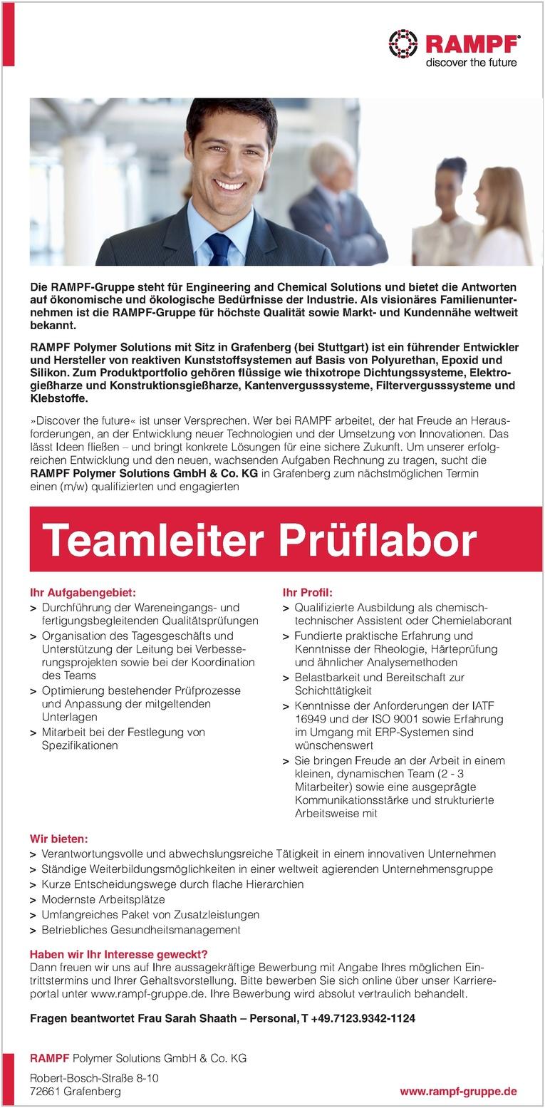 Teamleiter (m/w) Prüflabor