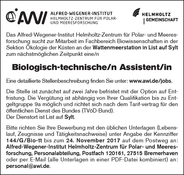 Biologisch-technische/r Assistent/in