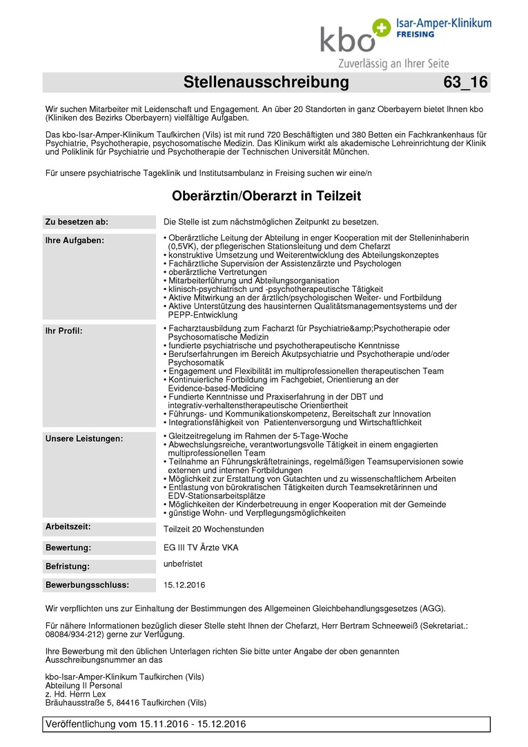 Oberärztin/Oberarzt in Teilzeit