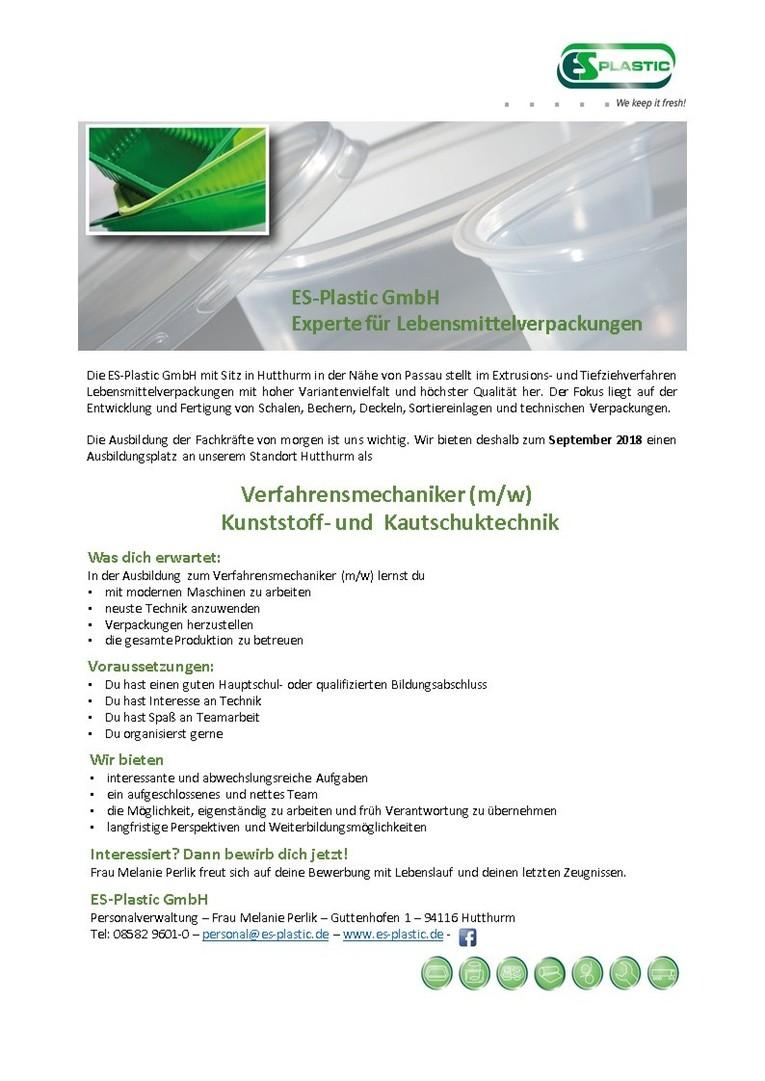 Ausbildung zum Verfahrensmechaniker (m/w) Kunststoff- und Kautschuktechnik
