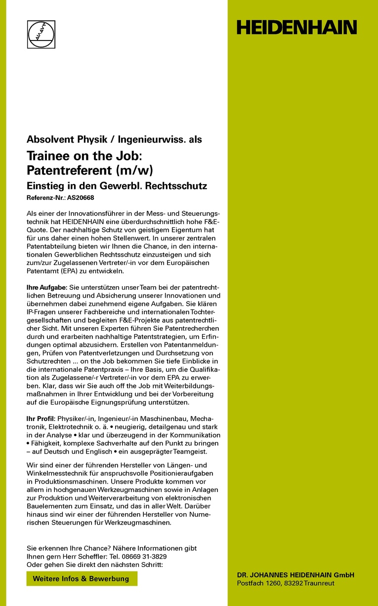 Absolvent Physik / Ingenieurwiss. als Trainee on the Job: Patentreferent (m/w)