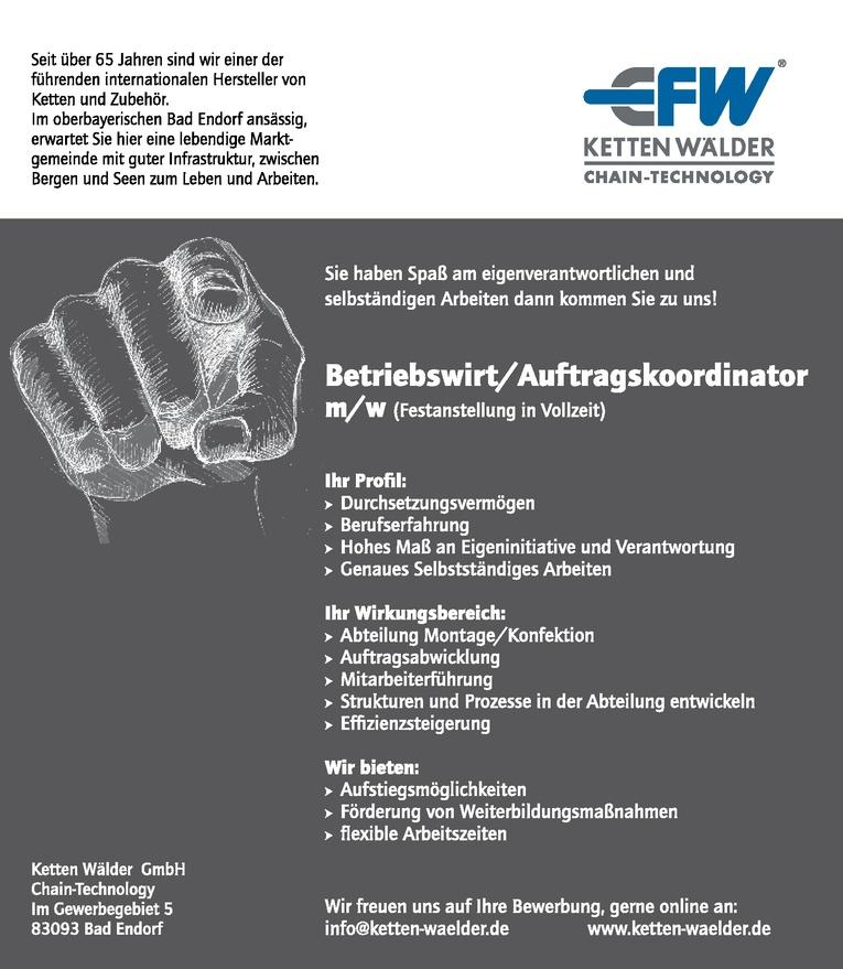 Betriebswirt/Auftragskoordinator (m/w)
