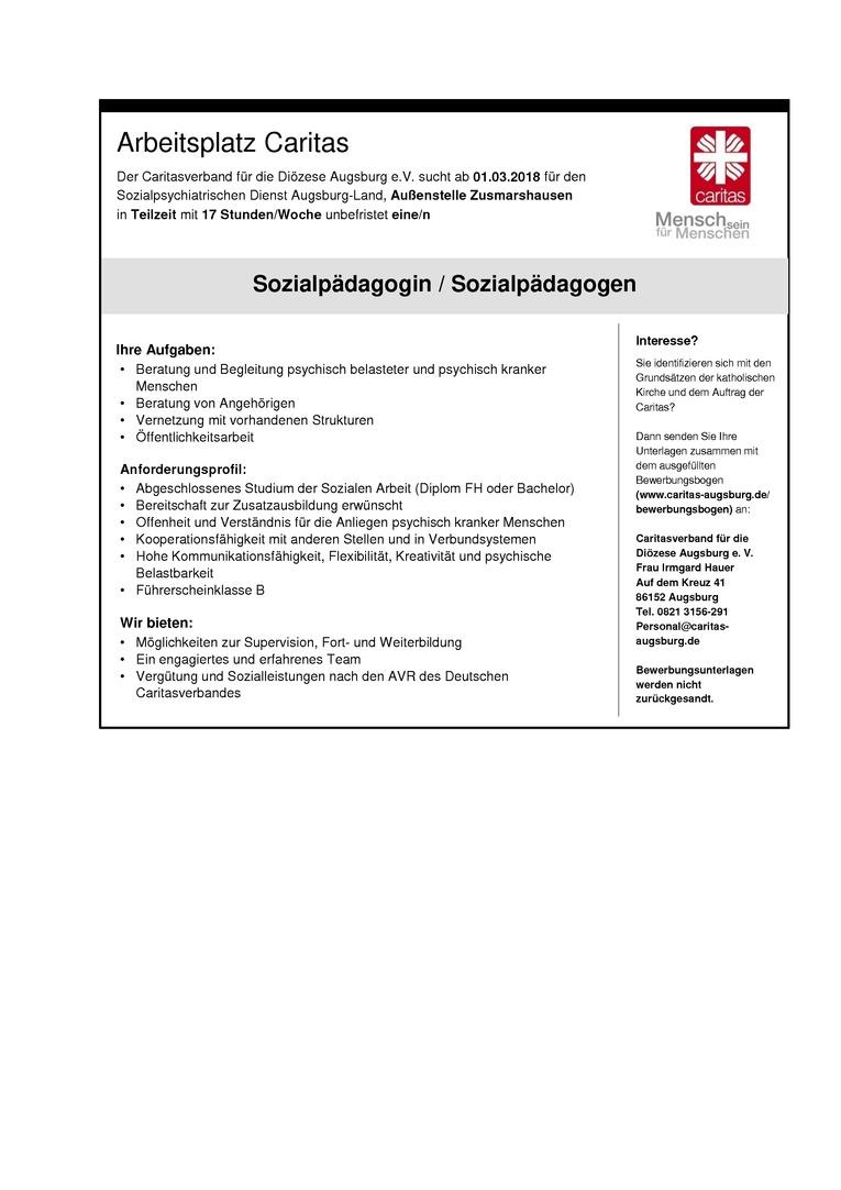 Sozialpädagogin/Sozialpädagoge für den Sozialpsychiatrischen Dienst