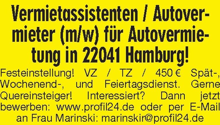 Vermietassistent / Autovermieter (m/w)
