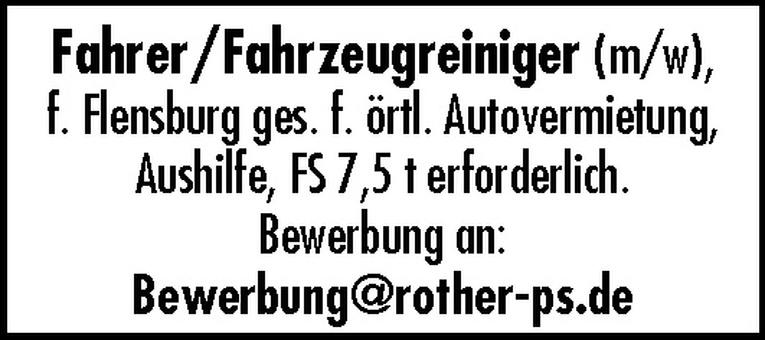 Fahrer/Fahrzeugreiniger (m/w)
