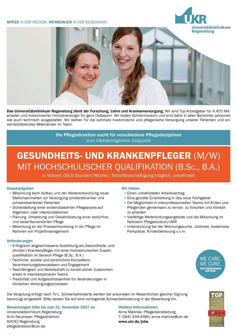 GESUNDHEITS- UND KRANKENPFLEGER (M/W) MIT HOCHSCHULISCHER QUALIFIKATION (B.SC., B.A.)