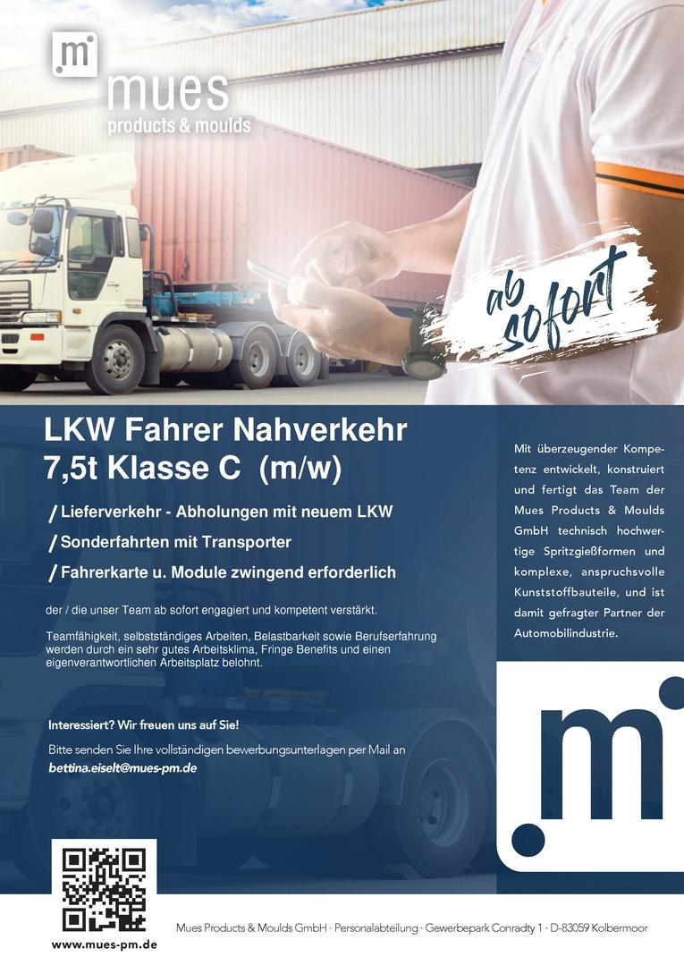 LKW-Fahrer Nahverkehr 7,5t Klasse C (m/w)