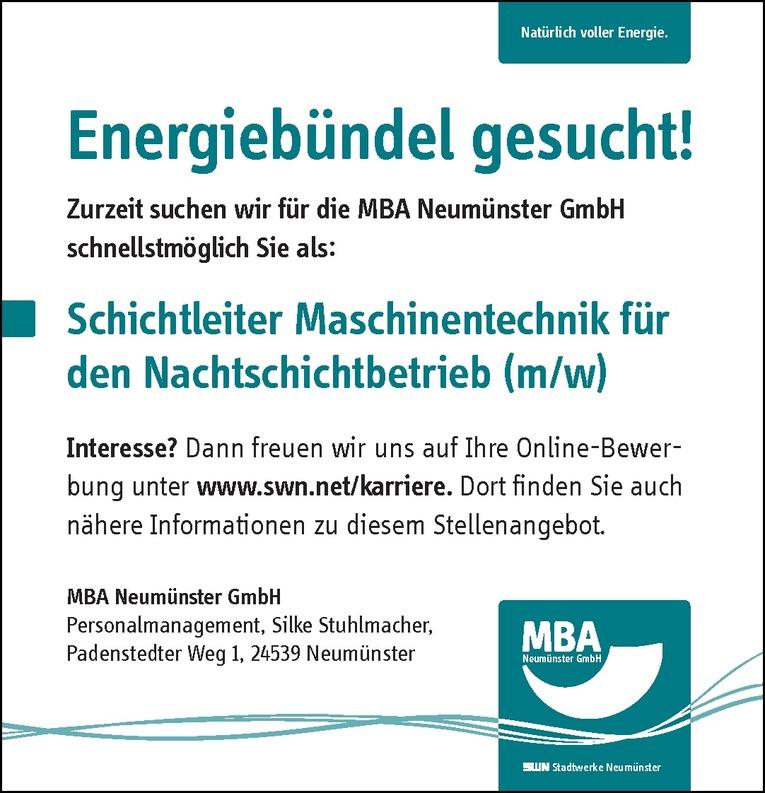 Schichtleiter Maschinentechnik für den Nachtschichtbetrieb (m/w)