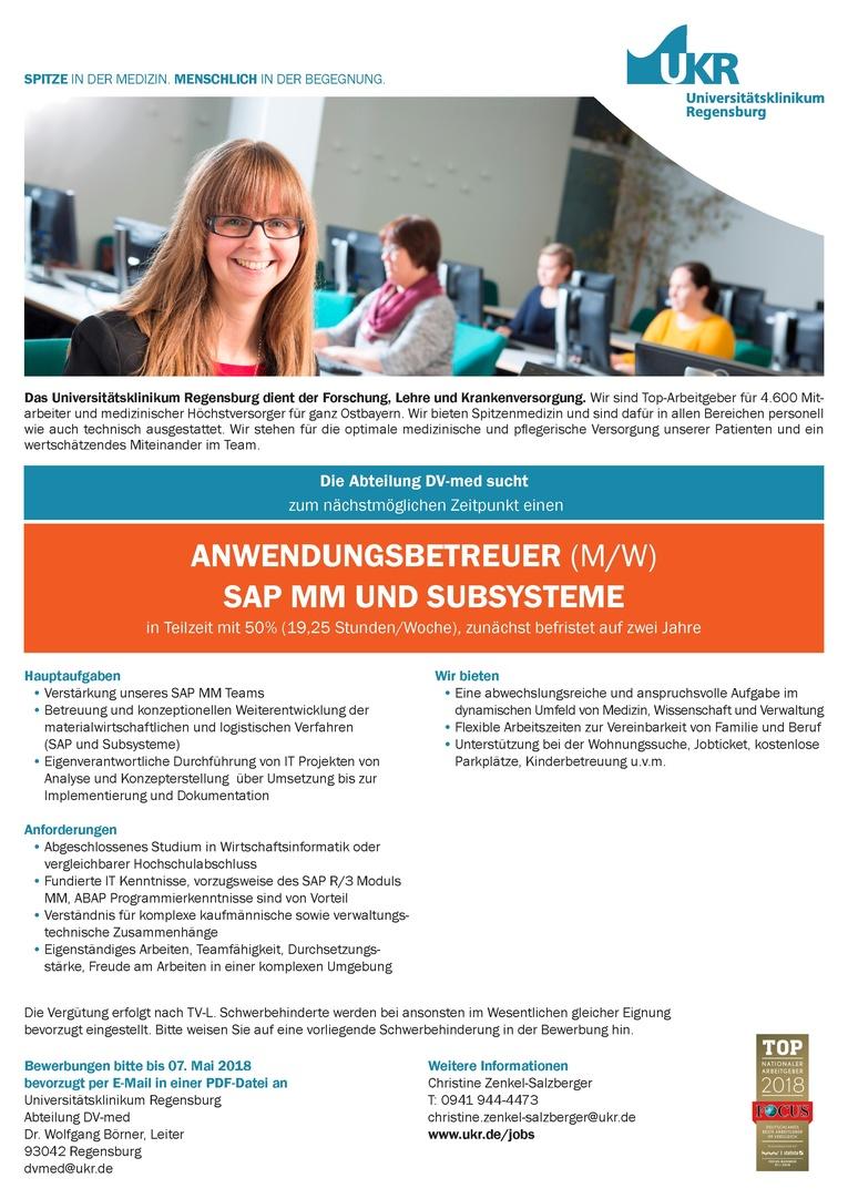 ANWENDUNGSBETREUER (M/W) SAP MM UND SUBSYSTEME