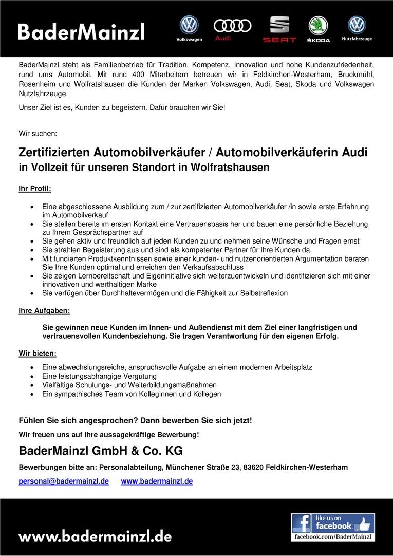 Zertifizierten Automobilverkäufer / Automobilverkäuferin Audi