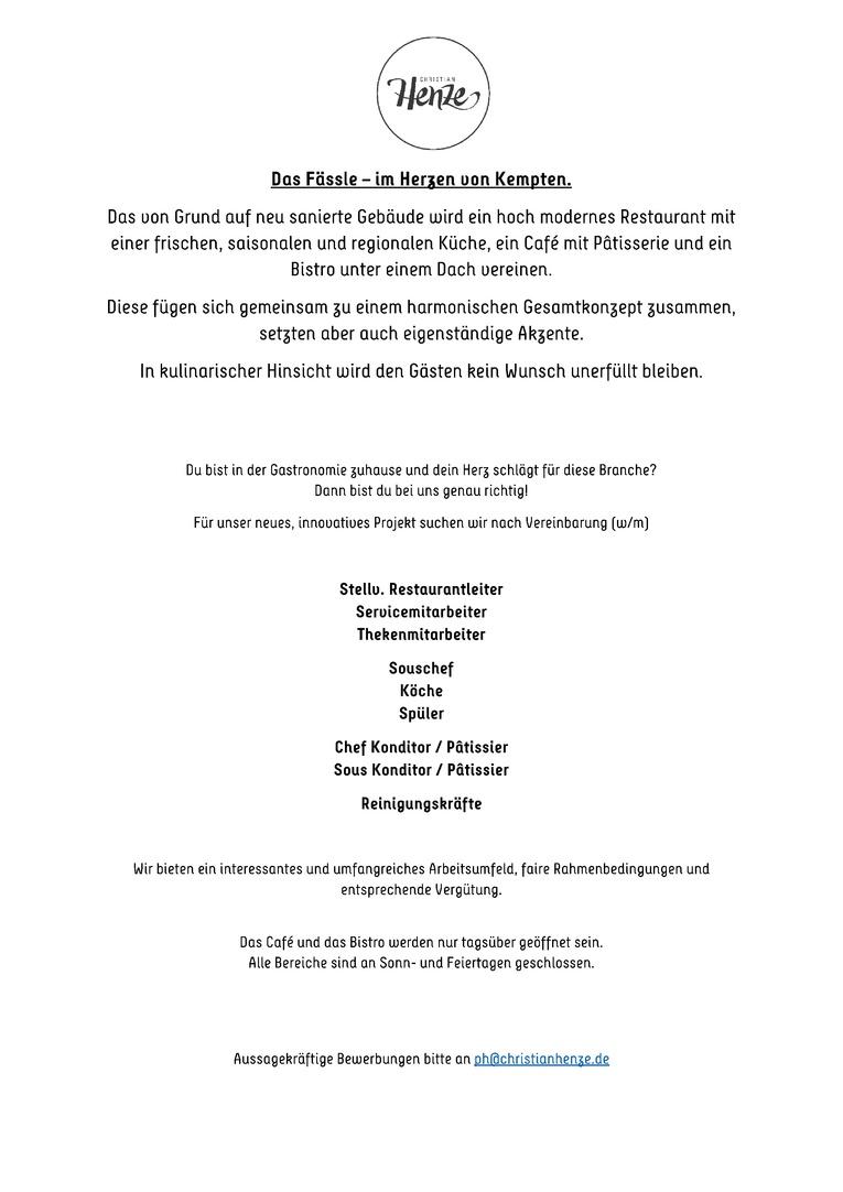 Chef und Sous Konditor / Pâtissier gesucht (m/w)!