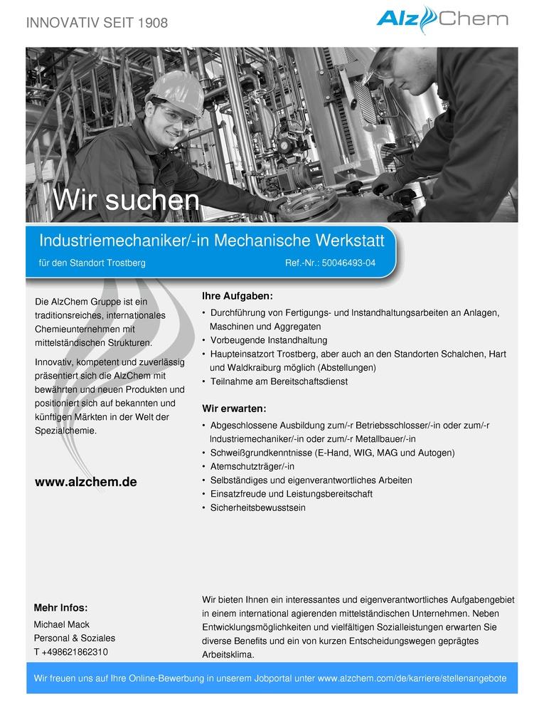 Industriemechaniker/-in Mechanische Werkstatt