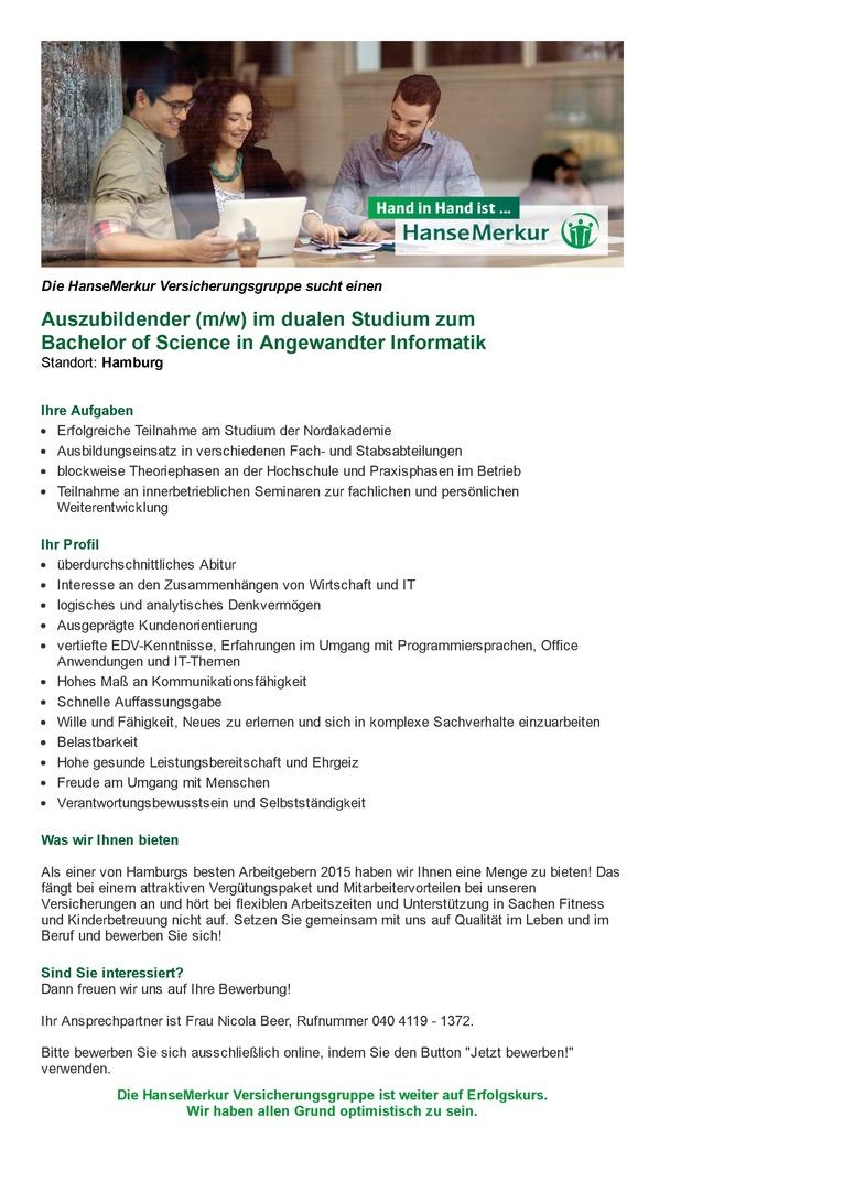 Auszubildender (m/w) im dualen Studium zum Bachelor of Science (m/w) in Angewandter Informatik