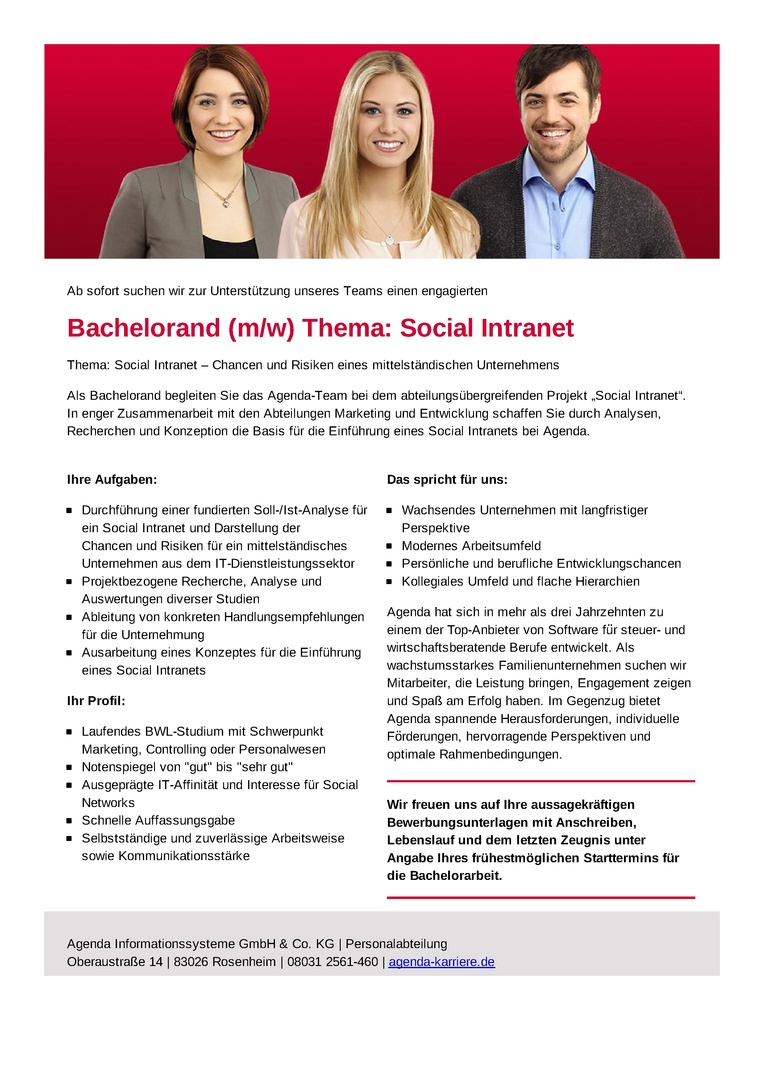 Bachelorand (m/w) Thema: Social Intranet