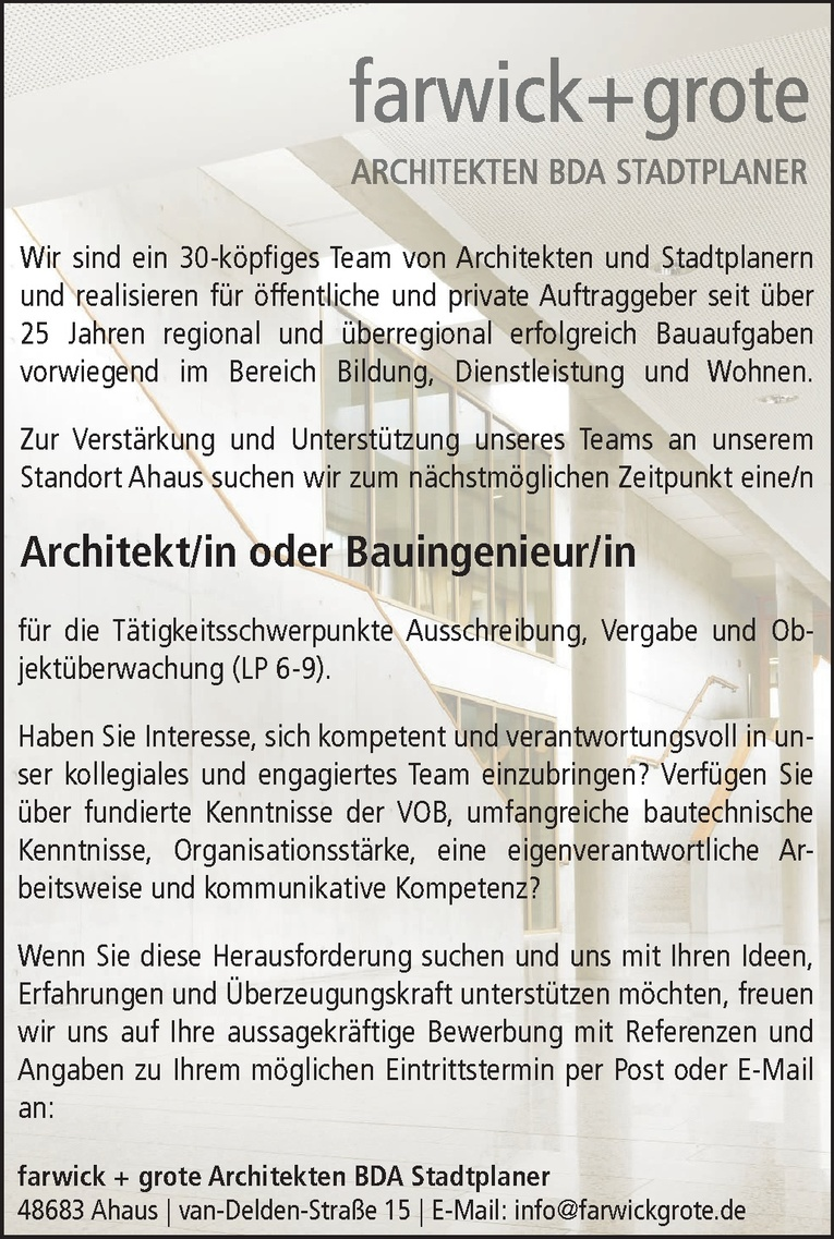 Architekt/in oder Bauingenieur/in
