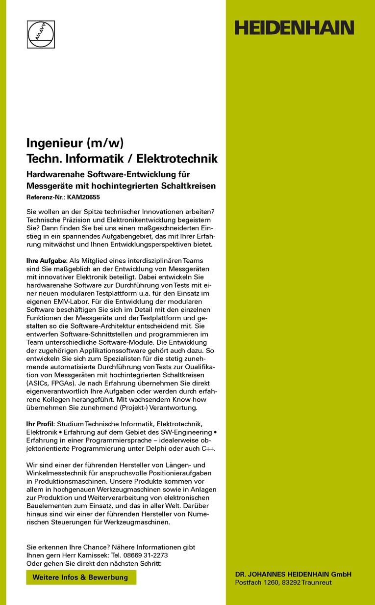 Ingenieur (m/w) Techn. Informatik / Elektrotechnik