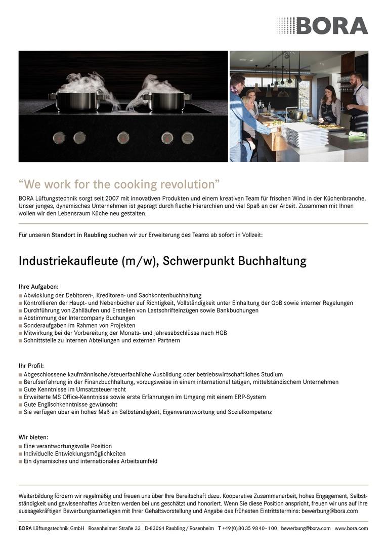 Industriekaufleute (m/w), Schwerpunkt Buchhaltung