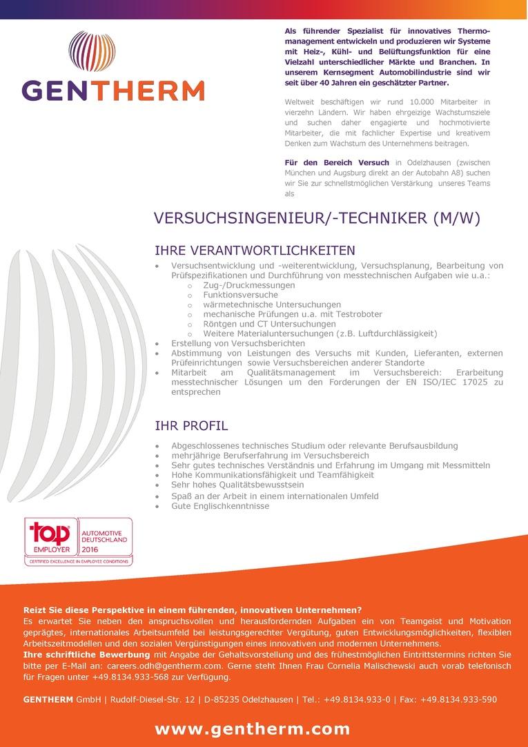 Versuchsingenieur/ -techniker (m/w)