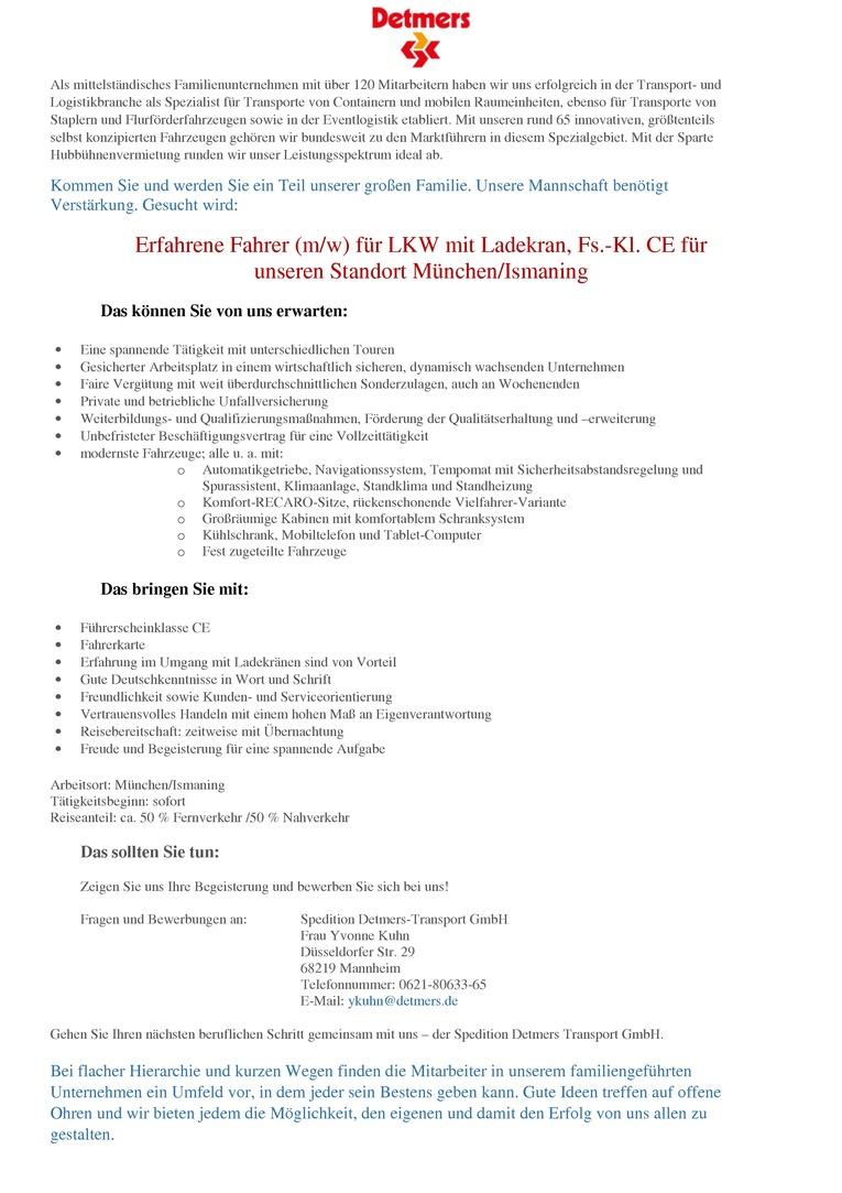 Berufskraftfahrer (m/w) für LKW mit Ladekran, Fs.-Kl. CE für unseren Standort