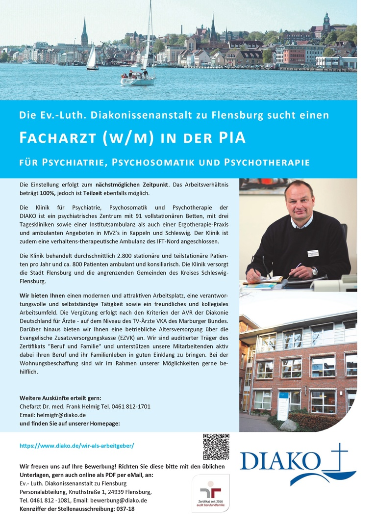 Facharzt (w/m) in der PIA für Psychiatrie, Psychosomatik und Psychotherapie