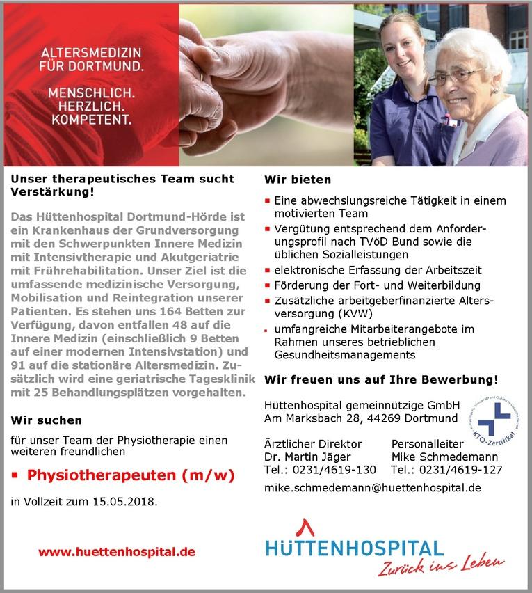 Physiotherapeut (m/w) im Hüttenhospital