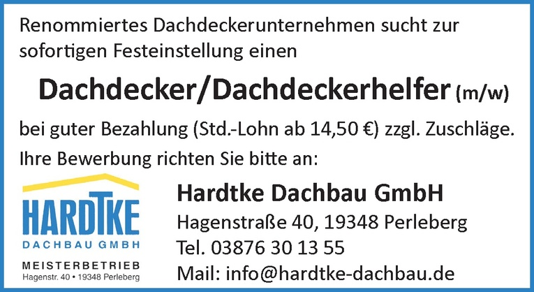 Dachdecker/Dachdeckerhelfer (m/w)