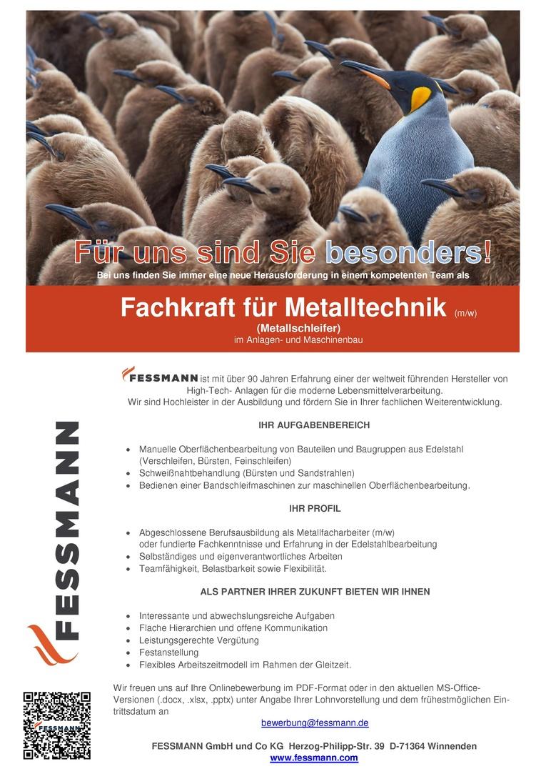 Schleifer (m/w) im Anlagen- und Maschinenbau