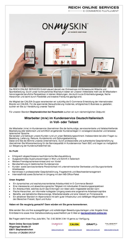 Mitarbeiter (m/w) Kundenservice Deutsch/Italienisch in Voll- oder Teilzeit
