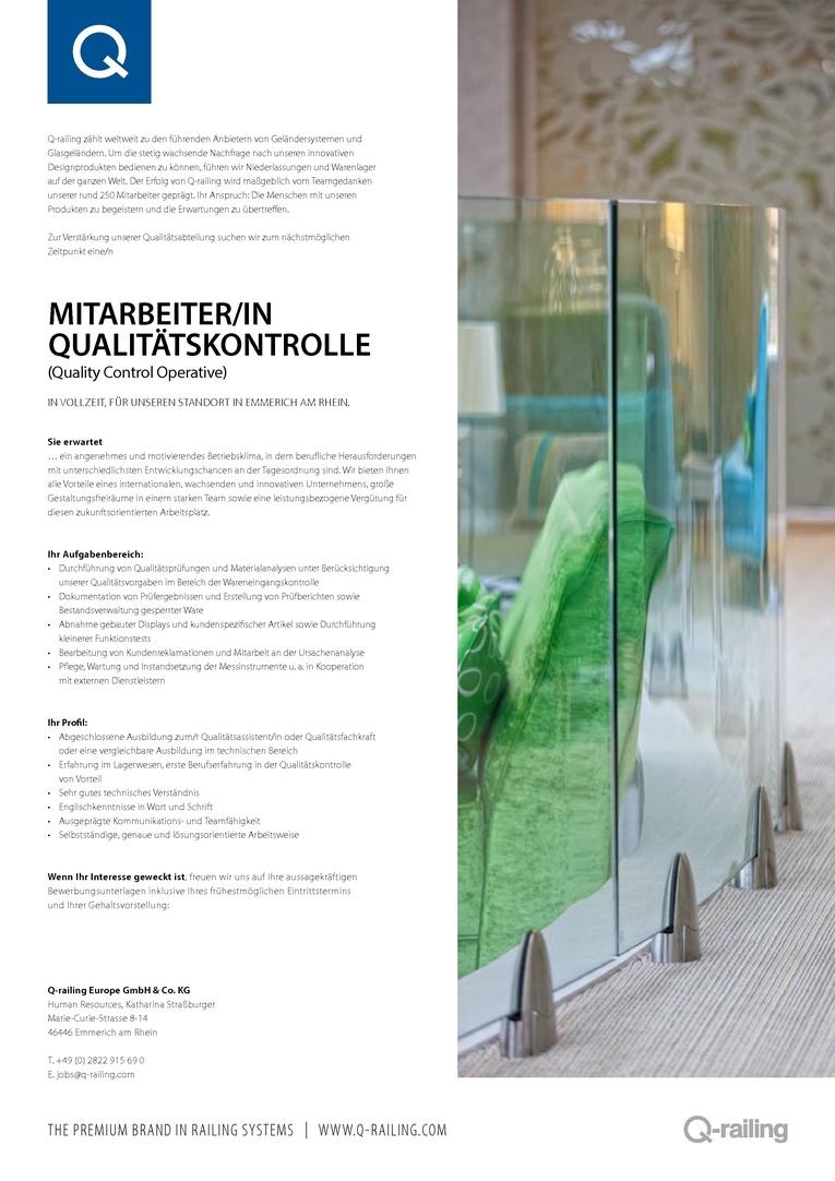 Mitarbeiter/in Qualitätskontrolle (m/w)
